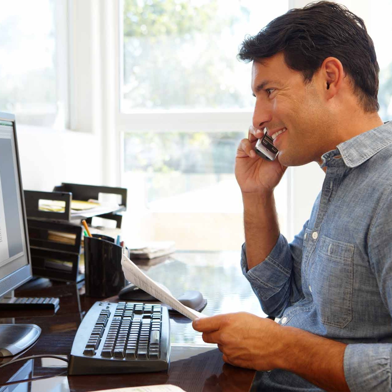 sales rep speaking on phone - small